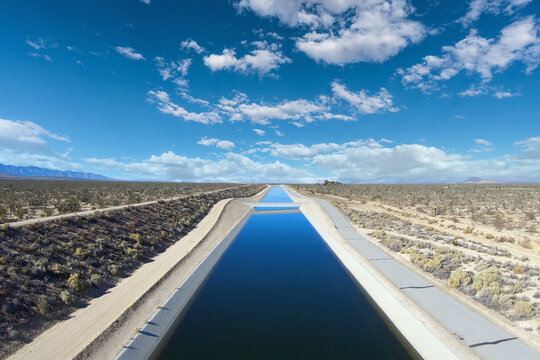 View of the California Aqueduct moving water through the Mojave Desert towards Los Angeles.