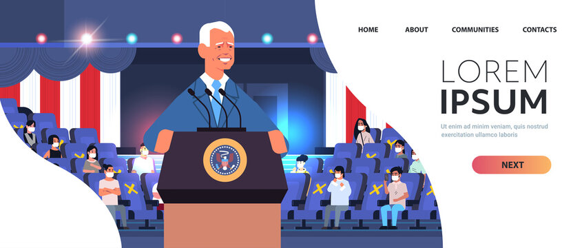 male president democrat winner of United States presidential election man giving speech from tribune USA inauguration day concept horizontal portrait copy space vector illustration