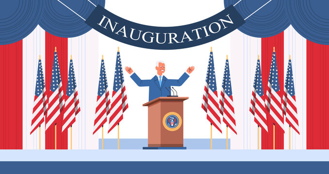 USA inauguration day concept democrat winner of United States presidential election man with raised hands standing at tribune with american flags horizontal full length vector illustration