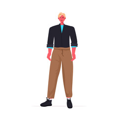 Wall Mural - young man in casual trendy clothes male cartoon character standing pose full length vector illustration