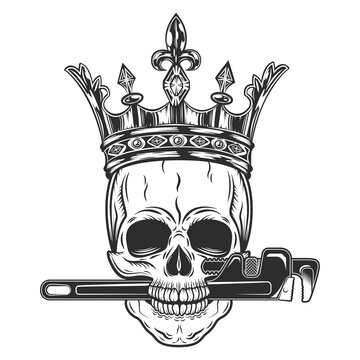 Vintage monochrome skull builder from new construction with crown wrenches plumbing and gas pipes isolated vector illustration