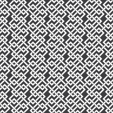 Abstract seamless pattern of intersecting lines. Swatch of white lines on a black background.
