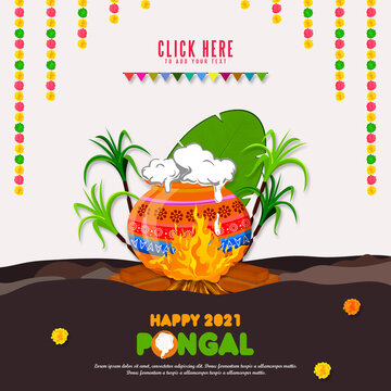 South Indian Festival Happy Pongal Template Design, Pongal Festival Background and Happy Pongal 2021 Text