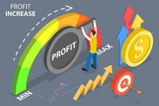 3D Isometric Flat Vector Conceptual Illustration of Increasing Profit Level, Successful Business strategy.