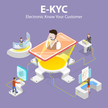 3D Isometric Flat Vector Concept of eKYC - Electronic Know Your Customer, Anti-Money Laundering Guidelines, Process of Minimizing Financial Risks in Business Relationship.