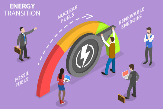 3D Isometric Flat Vector Conceptual Illustration of Energy Transition, Structural Change in an Eenergy System from Fossil Fuels to Renewable Energy.