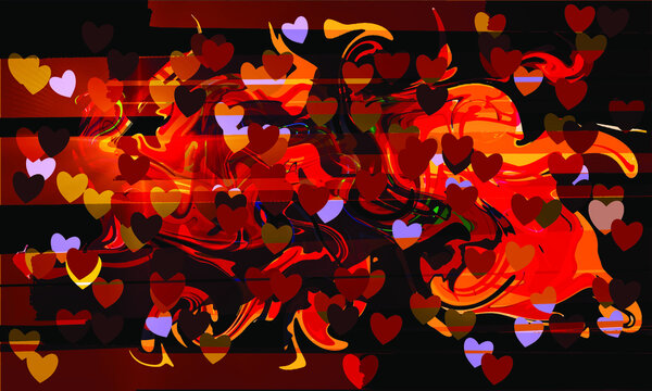 St Valentines day graffity background with hearts and curves layered eps10 vector illustration.