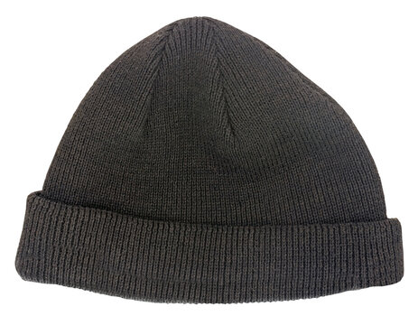 black knitted wool beanie hat isolated on white