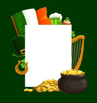 St. Patrick Day cartoon vector poster with blank sheet, pot with golden coins, leprechaun green hat, national flag, harp and horseshoe with shamrocks. Saint Patricks traditional festival, celtic party