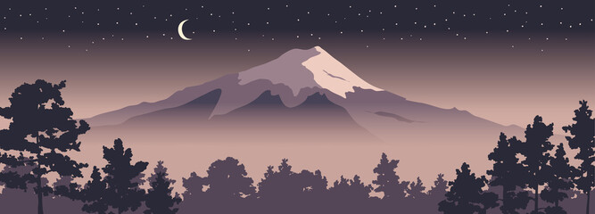 Abstract landscape with mount fuji / Vector illustration, narrow background, starlight night, japanese landscape with pine trees in the foreground. EPS 10.