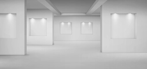 Fototapeta Empty gallery with empty niches with spotlights. Vector realistic interior of museum or studio room with shelves illuminated by lamps. Template for artwork exhibition obraz