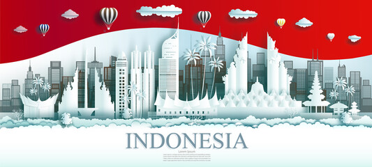 Travel Indonesia top world famous city ancient and palace architecture. Wall mural