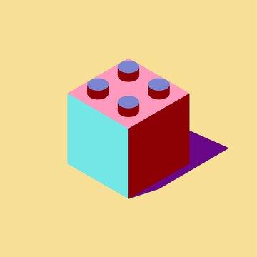 Plastic block from the kit. Pop art style. Clipart. Vector illustration