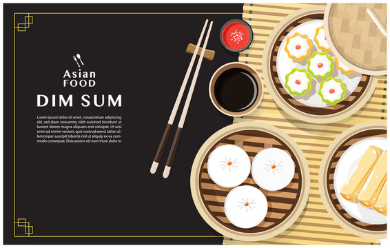 Dim sum menu set Asian food vector illustration.