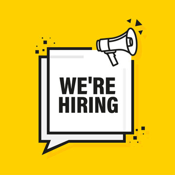 We are hiring megaphone yellow banner in flat style. Vector illustration.