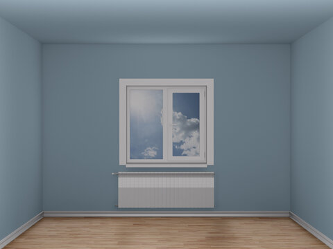 Empty room with window and heating radiator. 3D illustration