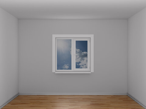 Empty room with window. 3D illustration