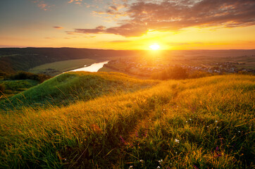 Wall Mural - Stunning view of the sinuous Dniestr river in sundown.