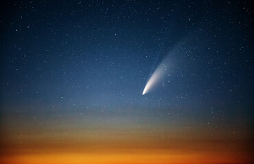 Wall Mural - Wonderful view of starry sky and C/2020 F3 (NEOWISE) comet with light tail.