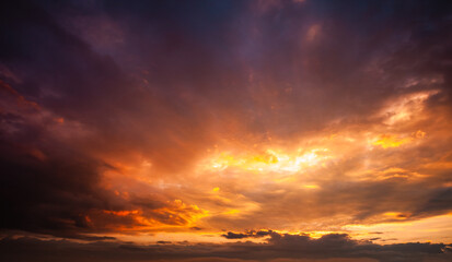 Wall Mural - Incredible colorful sunset with cloudy sky. Photo of textured sky.