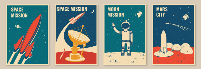 Mars city and space mission posters, banners, flyers. Vector Concept for shirt, print, stamp. Vintage typography design with space rocket, astronaut on the moon and city on mars silhouette.