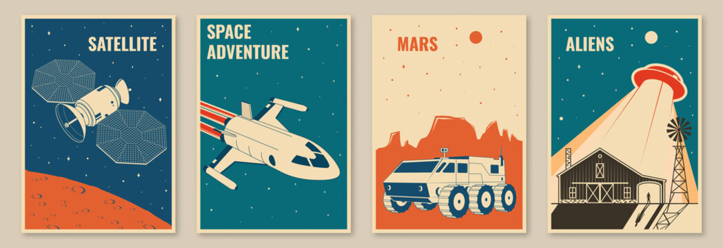 Space mission posters, banners, flyers. Vector illustration Concept for shirt, print, stamp. Vintage typography design with space rocket, mars rover and ufo flying spaceship silhouette.