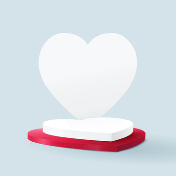 3D white and red heart shape podium display. Valentines banner for Wedding greeting card. Vector Illustration