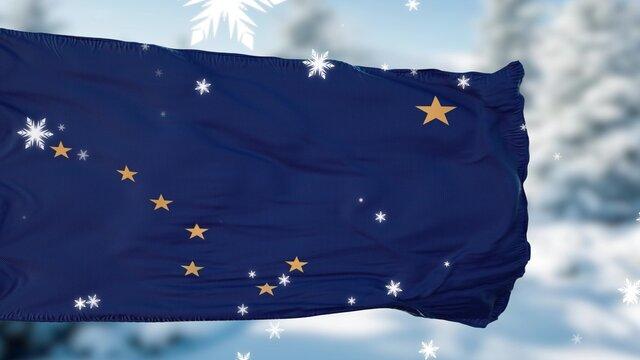Alaska winter snowflakes flag background. United States of America. 3d illustration