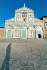 Fototapete - Church San Miniato al Monte in Florence, Italy. It is a basilica in Florence, Central Italy, standing atop one of the highest points in the city.