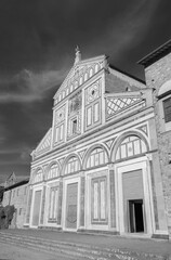 Fototapete - Church San Miniato al Monte in Florence, Tuscany, Italy. It is a basilica in Florence, Central Italy, standing atop one of the highest points in the city.