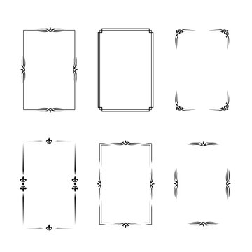 Set of black vintage borders in silent film or art deco style isolated on white backgrounds. Vector retro design elements.