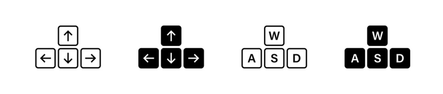 Keyboard button arrow and WASD set icon. Simple minimal flat vector for app and web