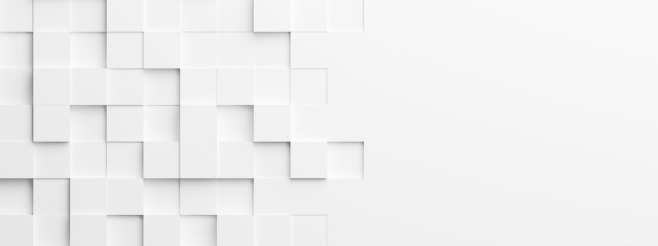 Random shifted white cube boxes block background wallpaper banner with copy space