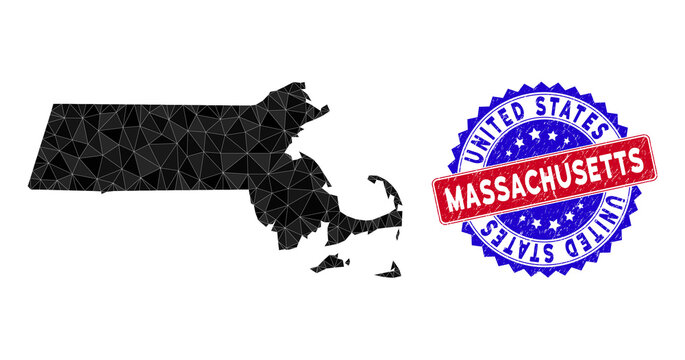 Massachusetts State map polygonal mesh with filled triangles, and rubber bicolor watermark. Triangle mosaic Massachusetts State map with mesh vector model, triangles have variable sizes,