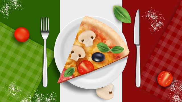 Italian cuisine banner. Pizza on plate, realistic basil tomatoes cutlery. Italy kitchen tasty food, restaurant cafe vector background. Illustration italian tomato and cheese banner