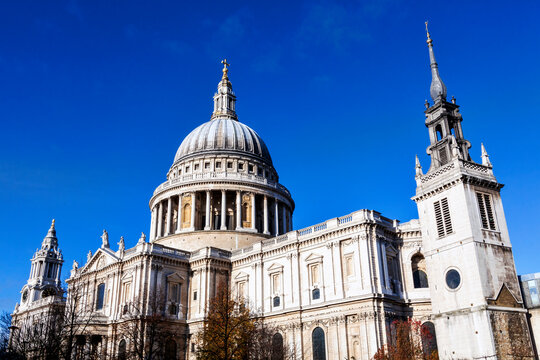 St Paul's Cathedral  in London England UK built by Sir Christopher Wren which a popular tourism travel destination visitor landmark of the city stock photo image