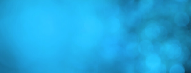 Blue abstract background banner, bokeh light effect texture with copy space, modern art design