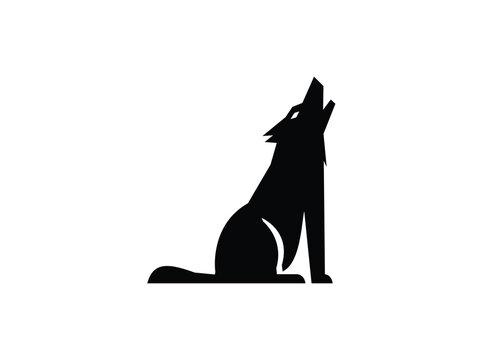 Wolf howling silhouette for logo illustration design