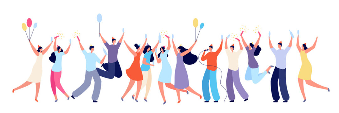 Birthday party concept. Colleagues congratulated, friends surprise event. Isolated people celebration with cake drinks utter vector banner. Congratulation and smiling, champagne and celebration