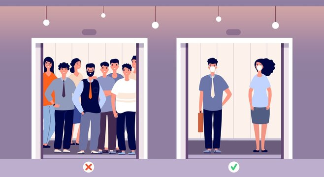 Distance in elevator. Self protection, flu virus protect in public instruction. People in lift, safety vector concept. Keep distancing in elevator, prevention coronavirus distance illustration