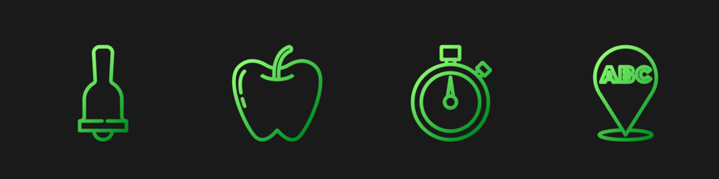 Set line Stopwatch, Ringing bell, Apple and Alphabet. Gradient color icons. Vector.