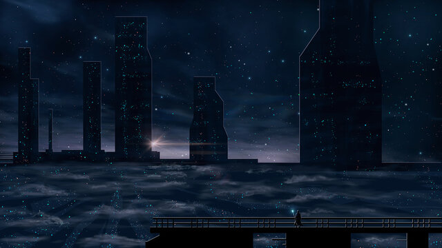 Man standing on roof and look to abstract modern sci-fi colorful city with night sky and stars. 3D illustration