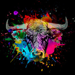 bull in colorful paint splashes on black background