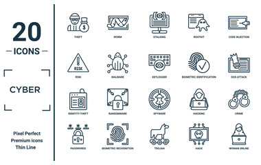 cyber linear icon set. includes thin line theft, risk, identity theft, passwords, woman online, keylogger, crime icons for report, presentation, diagram, web design - fototapety na wymiar