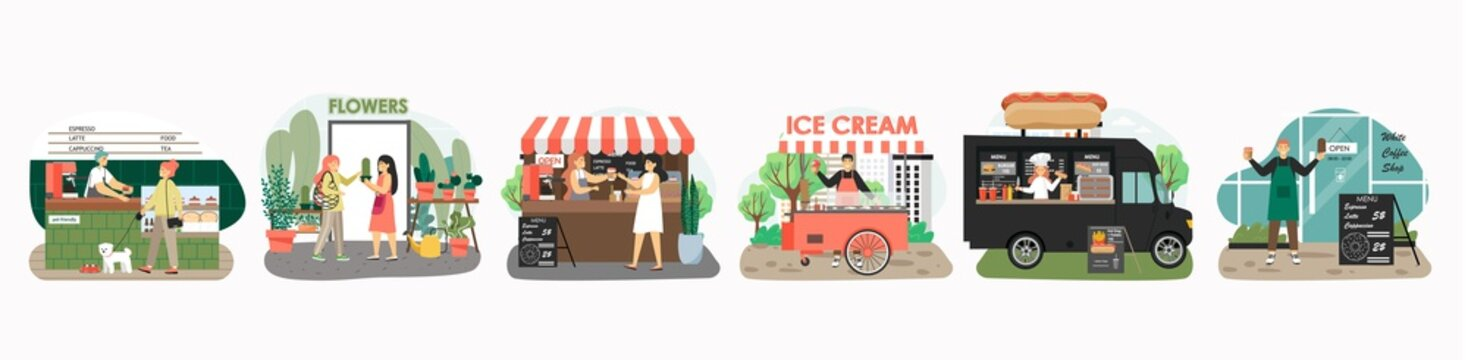 Street food carts with coffee, hot dog, ice cream. Fast food truck, festival stall. Small business concept vector illustration in flat style. Barista in cafe, woman sell flowers in shop