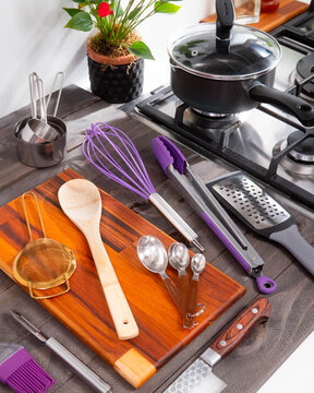 kitchen utensils on the table