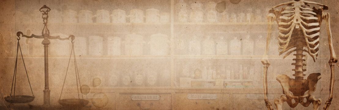 Ancient pharmaceutical scales and bottles with medicines, skeleton and scales on vintage brown paper background. Old pharmacy, medicine and chemistry background. Retro style.