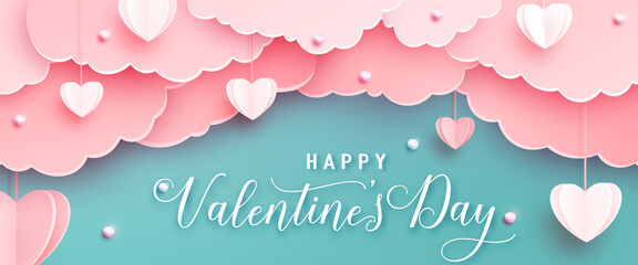 Estores personalizados con tu foto Happy valentines day greeting background in papercut realistic style. Paper hearts, clouds and pearls on string. Pink love banner party invitation template. Calligraphy words text sign on copy space