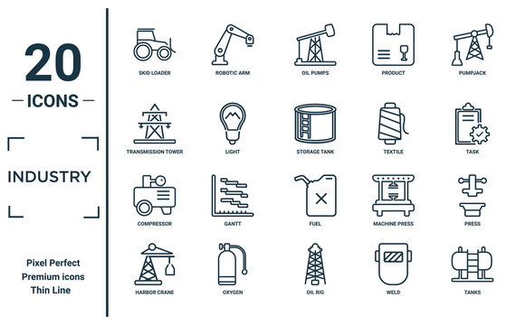 industry linear icon set. includes thin line skid loader, transmission tower, compressor, harbor crane, tanks, storage tank, press icons for report, presentation, diagram, web design