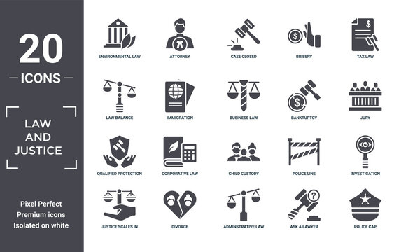 law.and.justice icon set. include creative elements as environmental law, tax law, bankruptcy, child custody, divorce, qualified protection filled icons can be used for web design, presentation,